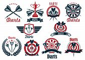 Darts tournament symbols and icons with dartboards, arrows and trophy bowls, decorated by crowned heraldic shield with wings, laurel wreath, ribbon banners and stars poster