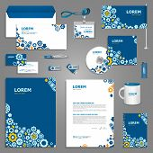 Mechanical stationery template design with elements of mechanism. Documentation for business poster