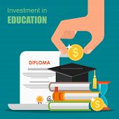Invest in education concept. Vector illustration in flat style design. Stack of books, diploma and university student cap. Money savings for study poster