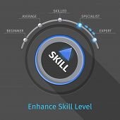 Skill levels vector knob button or switch. Education and proficiency, test expertise illustration poster