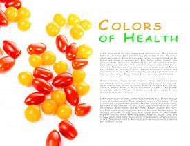 Cherry Tomatoes Isolated On White Background. With Place For A Sample Text