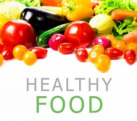 Fresh Vegetables Isolated On White Background. With Place For A Sample Text