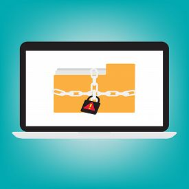 Computer Labtop Display Icon Folder With Key  Chain Of Ransomware Icon Encrypted File Concept. Vecto