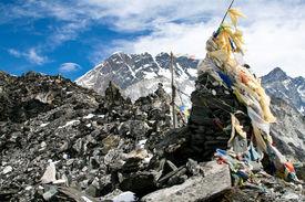 Prayer flags on a top of Kongma La pass
