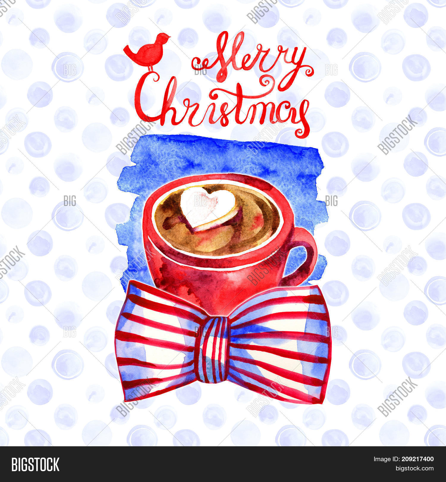 cute winter greeting card with a mug of hot chocolate merry christmas and happy new