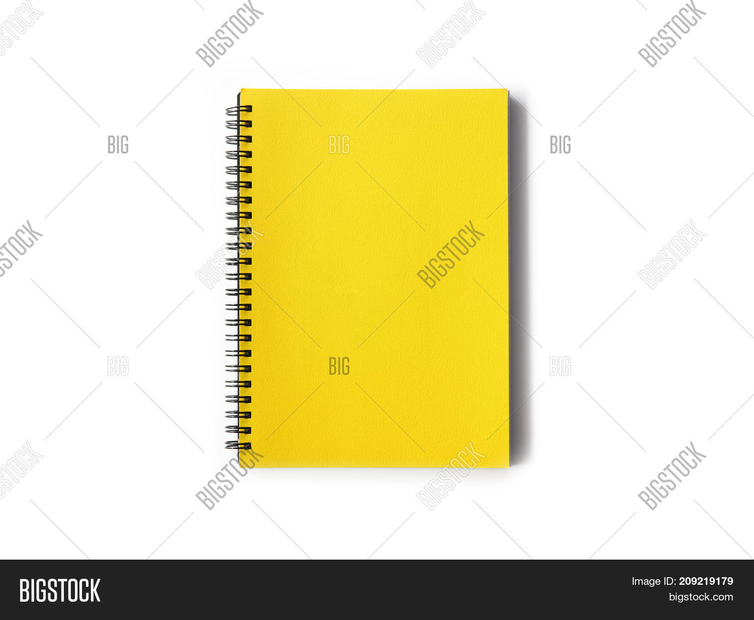 spiral coil notebook yellow cover image photo bigstock