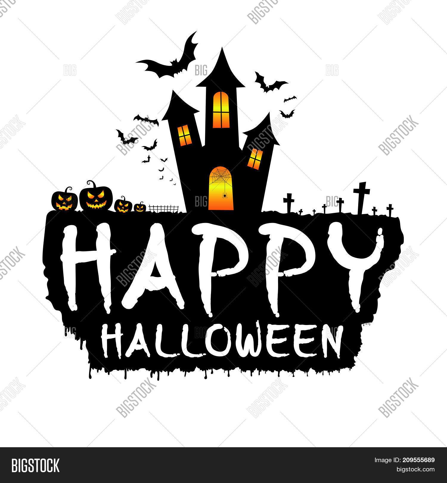 happy halloween with dark castle scary pumpkins bats and graveyard happy halloween template