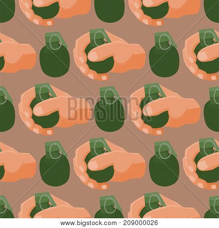 Grenade explosive bomb background military army weapon seamless pattern. Metal armed attack explode. Destruction steel equipment. Hand explosion weapons vector.