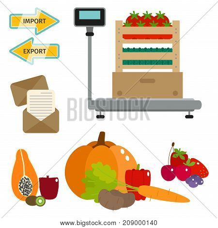 Vector worldwide food shipping heavydelivery ways and logistics in business and fresh fruits industry with warehouse cargo ship.