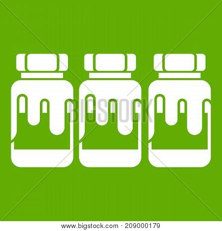 Three plastic jars with gouache icon white isolated on green background. Vector illustration