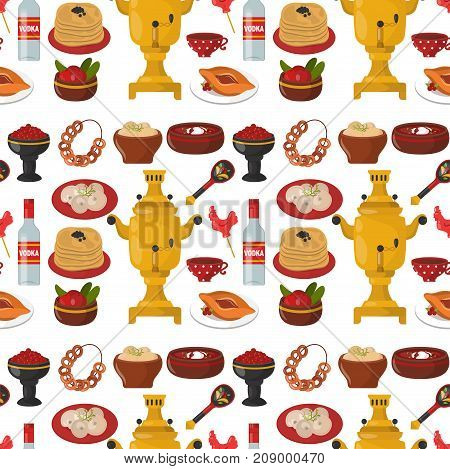 Traditional Russian cuisine seamless pattern background culture dish course food welcome to Russia gourmet national meal vector illustration. Homemade appetizer lunch eating snack.