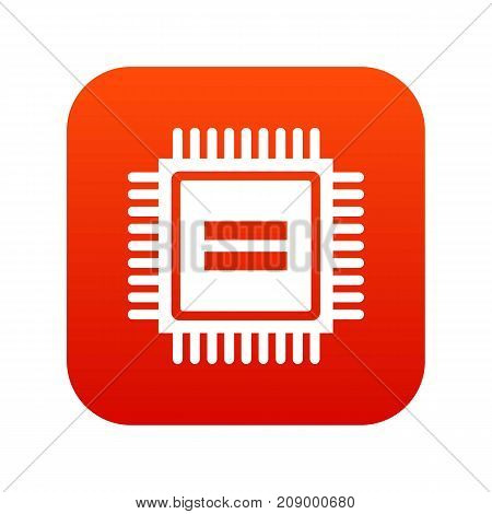 Electronic circuit board icon digital red for any design isolated on white vector illustration