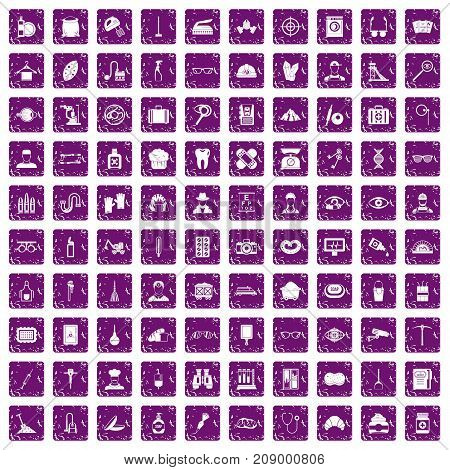 100 profession icons set in grunge style purple color isolated on white background vector illustration