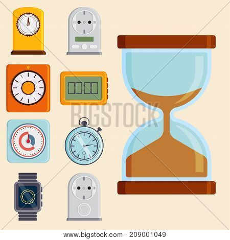 Clock and watches vector icons set. Different types of circle timer colorful measurement tools. Number digital information stopwatch with arrow graphic.