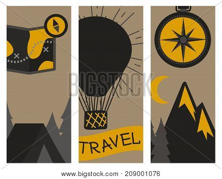 Mountain outdoor vector flayer set camping travel cards hand drawn labels climbing and hiking badges peak extreme illustration. Tourism summer range geology emblem.