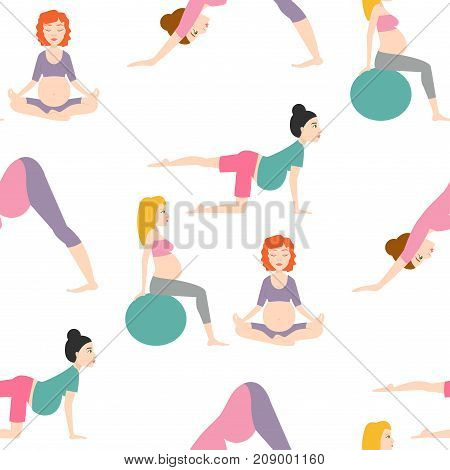 Pregnancy sport fitness people and healthy character lifestyle seamless pattern background. Group of happy pregnant women sitting on mats meditation and talking in gym. Relax person well being.