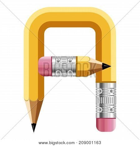 Letter a pencil icon. Cartoon illustration of letter a pencil vector icon for web