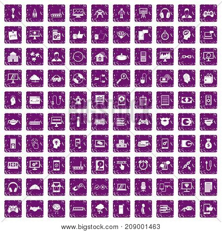 100 programmer icons set in grunge style purple color isolated on white background vector illustration