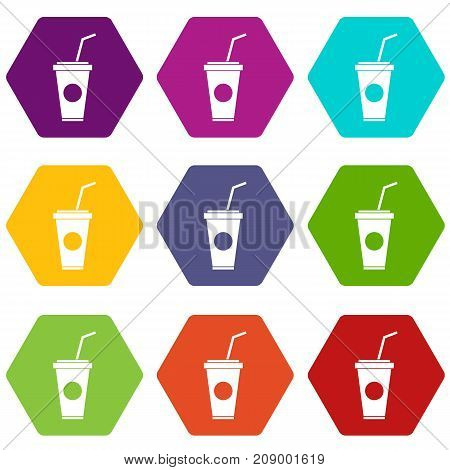 Paper cup with straw icon set many color hexahedron isolated on white vector illustration