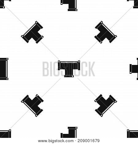 T pipe connection pattern repeat seamless in black color for any design. Vector geometric illustration