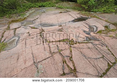 Glacial Scraped Granite on the Canadian Shield in Killarney Provincial Park in Ontario Canada