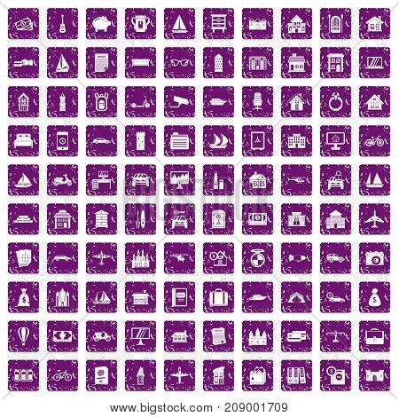 100 property icons set in grunge style purple color isolated on white background vector illustration