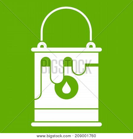 Bucket with paint icon white isolated on green background. Vector illustration