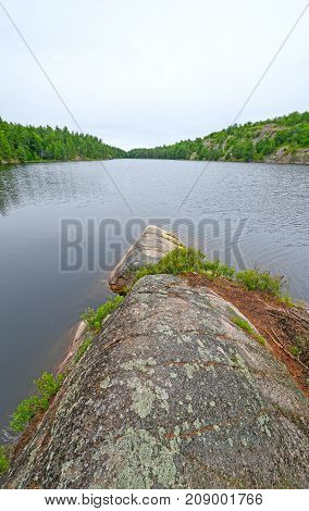 Barren point on a Lake of the Woods in Killarney Provincial Park in Ontario Canada