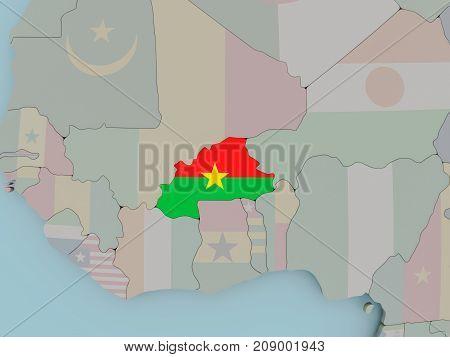 Burkina Faso On Political Globe With Flag