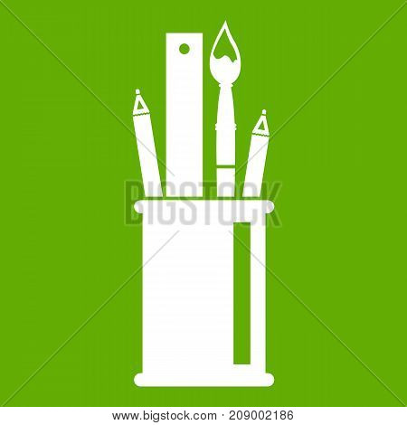 Stationery in cup icon white isolated on green background. Vector illustration