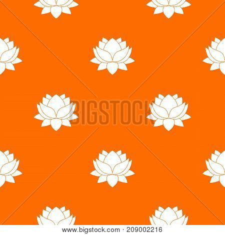 Water lily flower pattern repeat seamless in orange color for any design. Vector geometric illustration