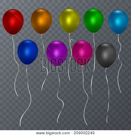 Colorful realistic helium balloons isolated transparent background. Vector, eps 10