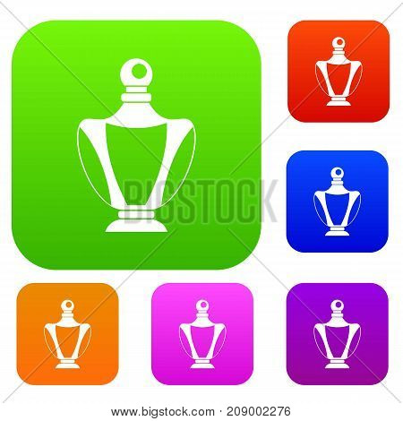 Elegant woman perfume bottle set icon color in flat style isolated on white. Collection sings vector illustration