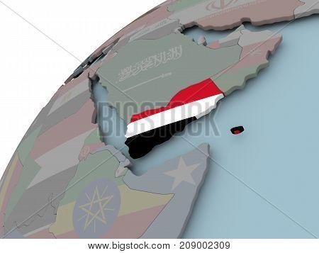 Map Of Yemen With Flag
