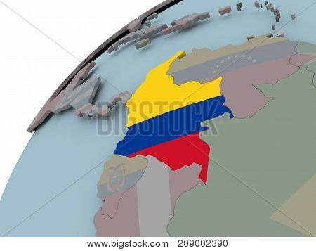 Map Of Colombia With Flag