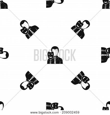 Businessman holding smile mask pattern repeat seamless in black color for any design. Vector geometric illustration
