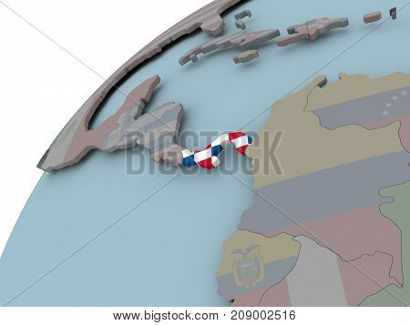 Map Of Panama With Flag