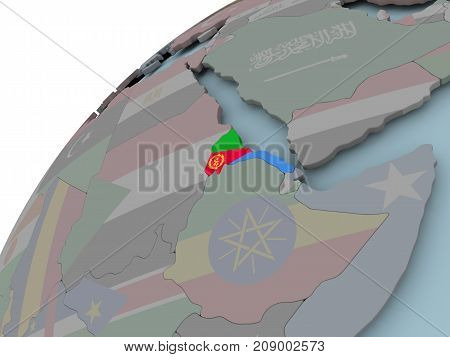 Map Of Eritrea With Flag