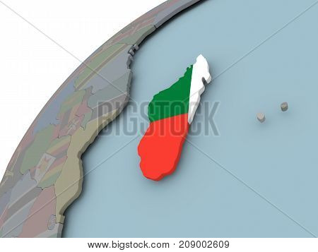 Map Of Madagascar With Flag