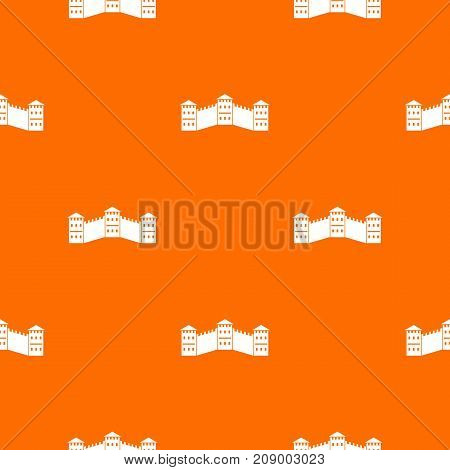 Great Wall of China pattern repeat seamless in orange color for any design. Vector geometric illustration