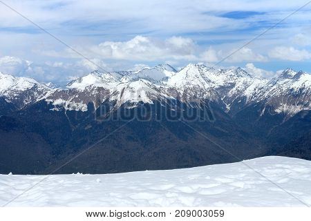 Snowy mountains with stop signs beautiful view