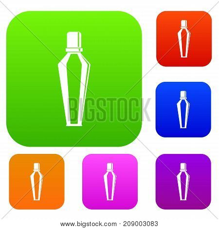 Elegant woman perfume glass bottle set icon color in flat style isolated on white. Collection sings vector illustration