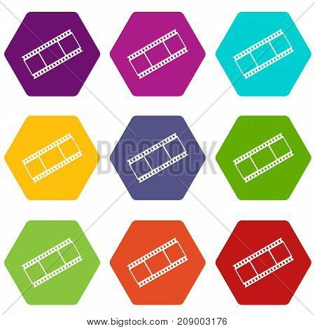 Film with frames icon set many color hexahedron isolated on white vector illustration