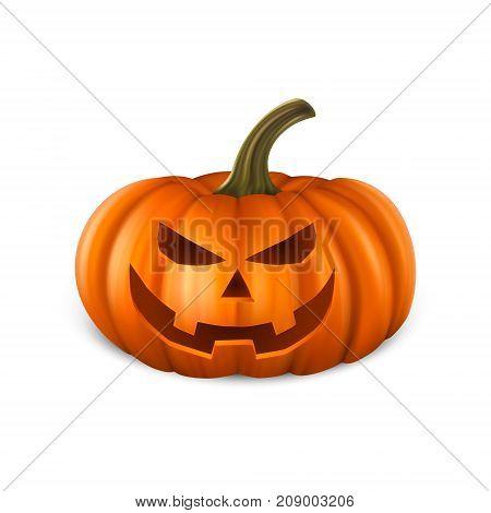 Realistic pumpkin head jack lantern icon closeup isolated on white background. Halloween Symbol. Design template, stock vector illustration, eps10.