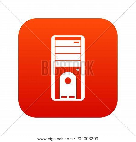 Computer system unit icon digital red for any design isolated on white vector illustration