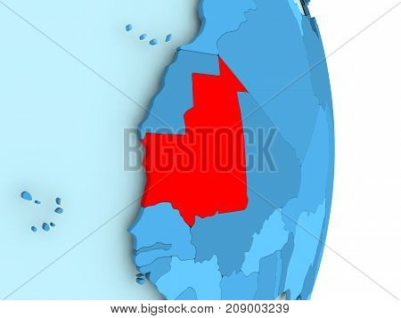 Map Of Mauritania In Red