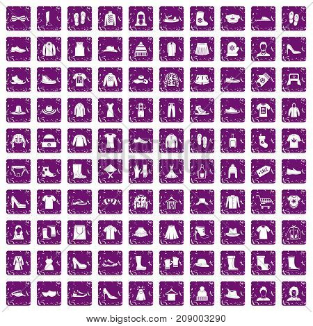 100 rags icons set in grunge style purple color isolated on white background vector illustration