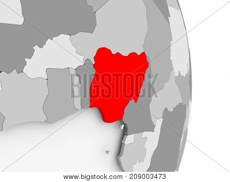 Nigeria On Grey Political Globe