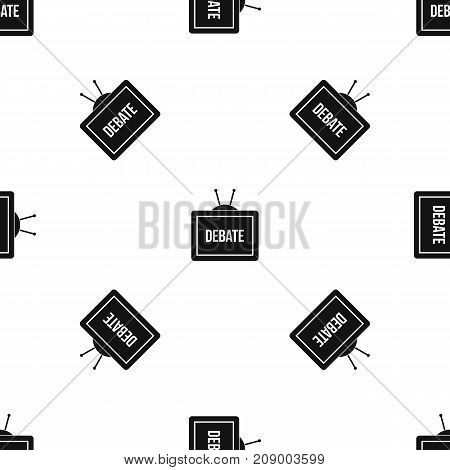 TV with the Debate inscription on the screen pattern repeat seamless in black color for any design. Vector geometric illustration