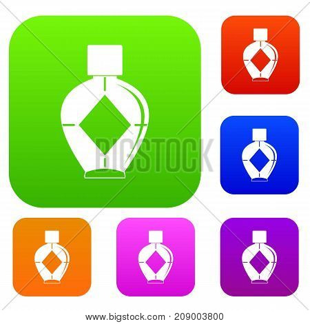 Light bottle of female perfume set icon color in flat style isolated on white. Collection sings vector illustration